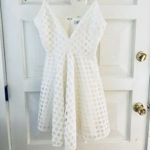 White fit/flare dress- perfect for bridal shower👰